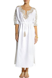 Emamó Embellished crocheted linen beach dress