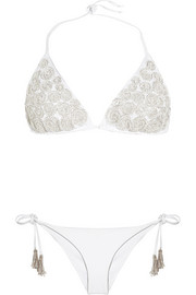 Emamó Embellished embroidered triangle bikini