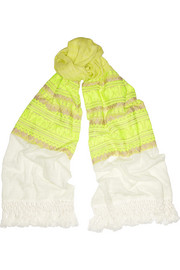 Jordan neon-embroidered cotton-gauze scarf
