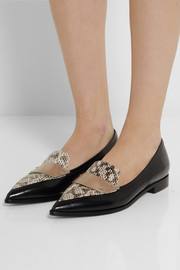 Nicholas Kirkwood Leather and elaphe point-toe flats