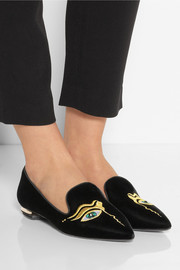Nicholas Kirkwood Embroidered velvet point-toe flats