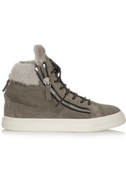 Giuseppe Zanotti London suede and shearling high-top sneakers