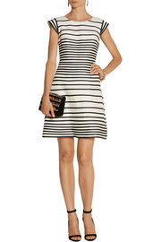 Halston Heritage Striped cotton and silk-blend dress