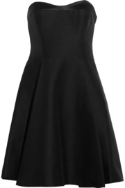 Halston Heritage Satin-trimmed cotton and silk-blend dress