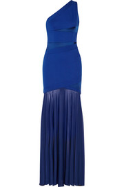 Ponte, satin and stretch-georgette gown