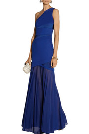 Halston Heritage Ponte, satin and stretch-georgette gown