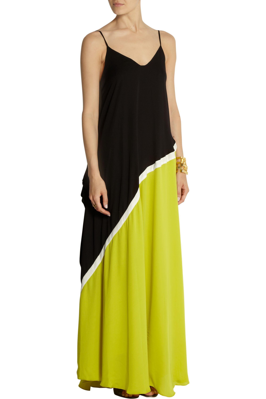 Halston Color-block georgette gown