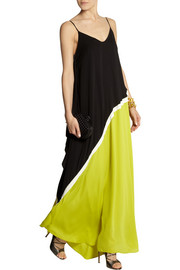 Halston Heritage Color-block georgette gown