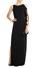 Halston Heritage Asymmetric cutout jersey-crepe gown