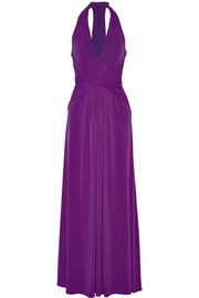 Twist-front stretch-jersey halterneck gown