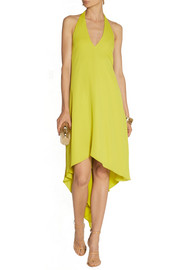 Halston Heritage Draped-back georgette halterneck dress