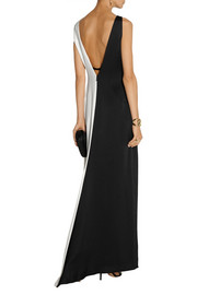 Halston Heritage Color-block crepe de chine gown