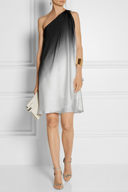 Halston Heritage One-shoulder dégradé charmeuse dress