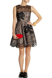 REDValentino Appliquéd lace and tulle dress
