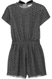 Sequined point d'esprit and stretch-jersey playsuit