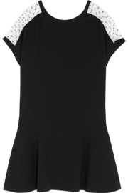 REDValentino Point d'esprit and crepe mini dress