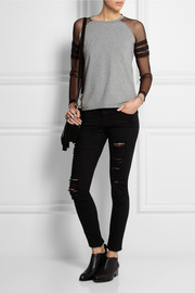 REDValentino Cotton-jersey and point d'esprit top