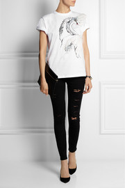 REDValentino Feather-embellished printed cotton-jersey T-shirt