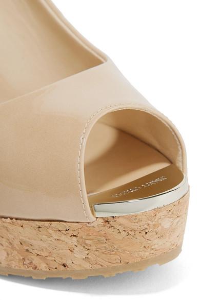 7a82204f2d71 Jimmy Choo. Prova 120 patent-leather slingback wedge sandals.  475. Zoom In