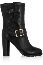 Dart buckled leather biker boots