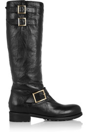 Jimmy Choo Yule leather biker knee boots