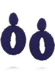 Oscar de la Renta Oscar O gold-tone beaded clip earrings
