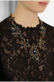 Oscar de la Renta Floral gold-plated crystal necklace