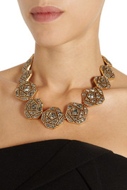 Oscar de la Renta Gold-plated crystal necklace