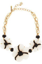 Oscar de la Renta Gold-plated resin necklace