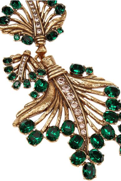 Oscar De La Renta Gold Plated Crystal Leaf Necklace