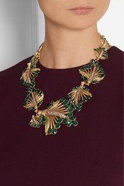 Oscar de la Renta Gold-plated crystal leaf necklace