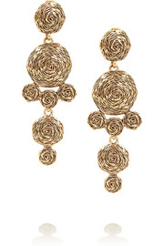 Oscar de la Renta Swirl gold-plated clip earrings