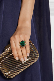 Oscar de la Renta Gold-plated crystal ring