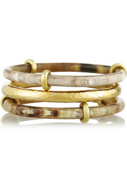 Ashley Pittman Karibu set of three horn and gold-tone bangles