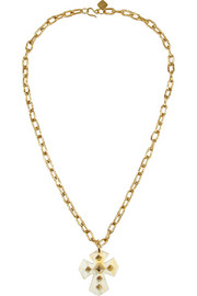 Ashley Pittman Pembeni gold-tone and horn cross necklace