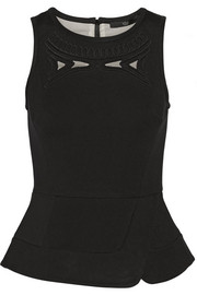 Tibi Cutout stretch-jersey peplum top