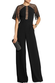 Temperley London Folk lace-paneled crepe jumpsuit