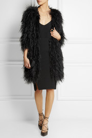 Temperley London Feather and silk-satin coat