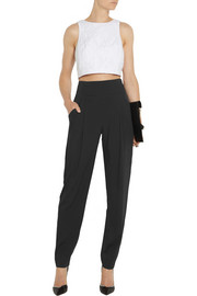 Temperley London Serenoa high-waisted stretch-silk tapered pants