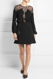 Temperley London Deneuve tulle-paneled silk crepe de chine top