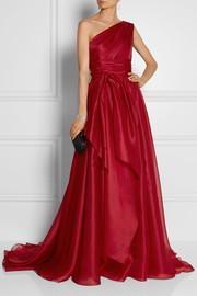 Marchesa One-shoulder draped silk-gazar gown