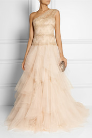 Marchesa One-shoulder embellished lace and tulle gown