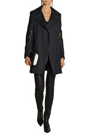 Belstaff Paxford leather-paneled wool-gabardine coat