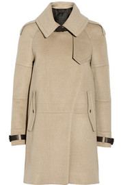 Belstaff Farlow leather-trimmed wool and cashmere-blend trench coat