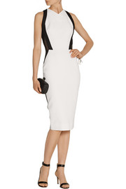 Victoria Beckham Two-tone silk and wool-blend cady dress