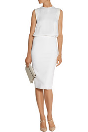 Victoria Beckham Slit-back matte-satin and stretch-jersey dress