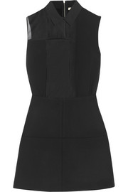 Victoria Beckham Paneled organza, crepe, silk and wool mini dress