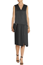Victoria Beckham Paneled duchesse-satin and wool-blend dress