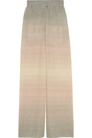 M Missoni Ombré metallic crochet-knit wide-leg pants