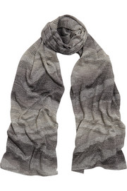 Metallic knitted wrap scarf
